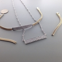 Diamond bar necklace from half of a diamond bracelet ... Repurposing again