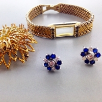 Earring jackets and diamond studs with sapphire & diamonds from the brooch & watch