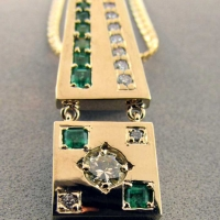 Emerald and Diamond Pendant Slide from Old Fashioned Necklace East Towne Jewelers