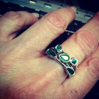 New emerald stacking rings with stones from her grandmother