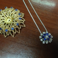 Pendant from center of sapphire diamond brooch