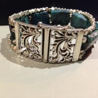 Turquoise & silver 3 strand bracelet with a beautiful clasp