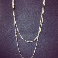 White gold diamond neck chain made with dimonds from a dated yellow gold necklace