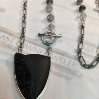 black onyx and druzy from idaroberstein framed in silver with tourminilate quartz beads