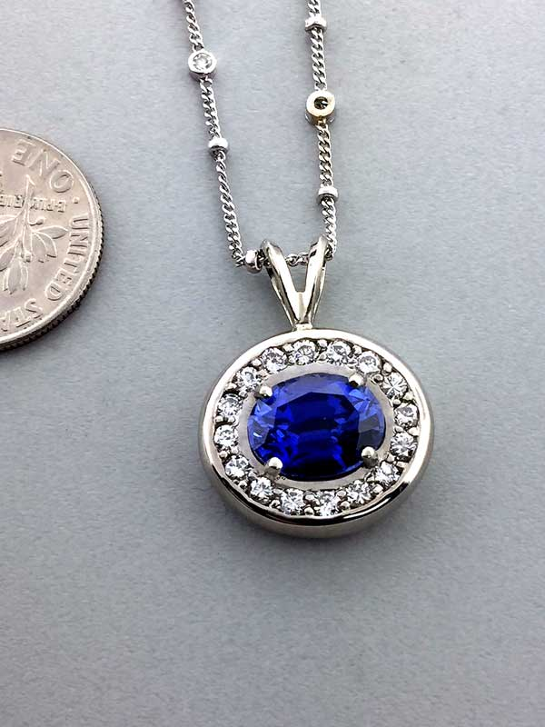 Custom Diamond Sapphire Traditional Necklace Pendant East Towne Jewelers Mequon WI