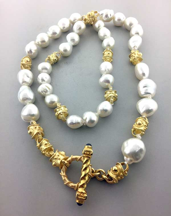 Custom Pearl Necklace Combining 18kt Yellow Gold Bracelet with Baroque Pearls East Towne Jewelers MEquon WI