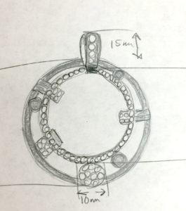 Custom Pendant Design Initial Drawing | East Towne Jewelers