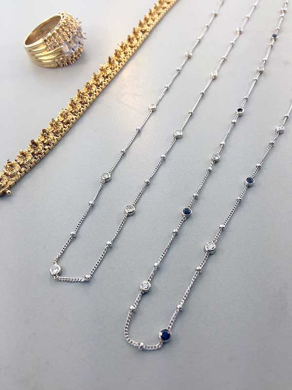 Diamond Sapphire Necklace Chains Custom Designed with Stones from a Ring and Bracelet East Towne Jewelers