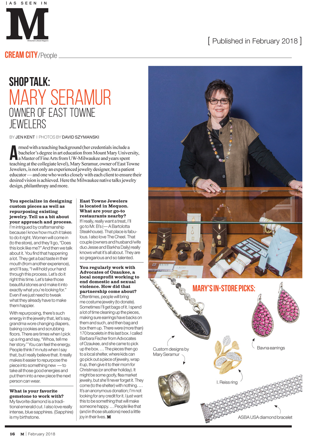 East Towne Jewelers featured in M Magazine