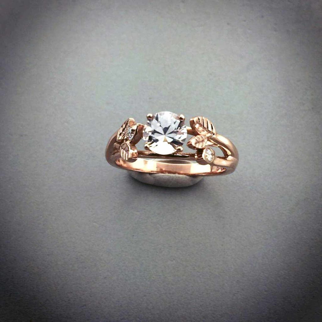 Rose Gold and White Sapphire Custom Ring East Towne Jewelers