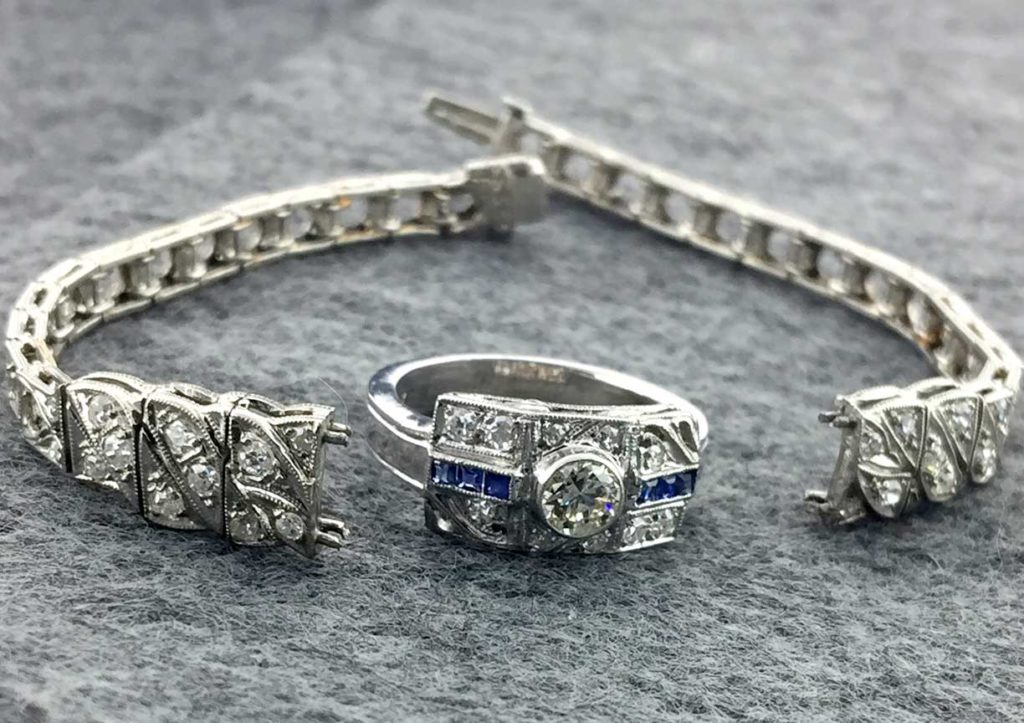 Sapphire and Diamond Ring made from an Antique Bracelet East Towne Jewelers